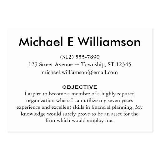 Resume Business Cards | Zazzle