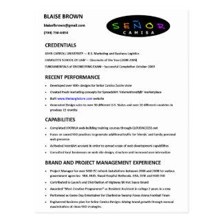 Resume Postcard