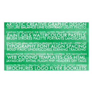 Resume Style - Green Double-Sided Standard Business Cards (Pack Of 100)