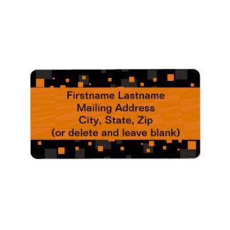 Resumen digital anaranjado alerta del arte de la etiquetas de dirección