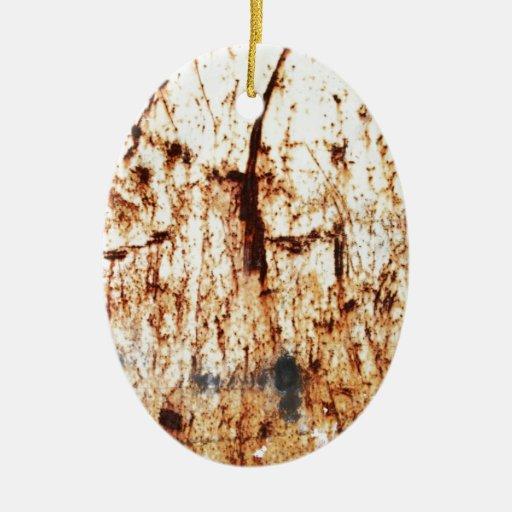 resumen marrón oxidado del humo de la quemadura adorno navideño ovalado de cerámica
