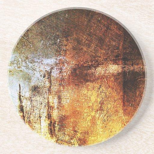 resumen marrón oxidado del humo de la quemadura de posavasos para bebidas