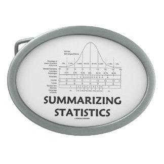Resumiendo las estadísticas (distribución de la cu hebilla cinturón oval