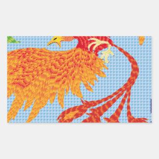 Resurgir del ave fenix pegatina rectangular