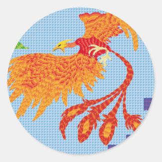 Resurgir del ave fenix pegatina redonda