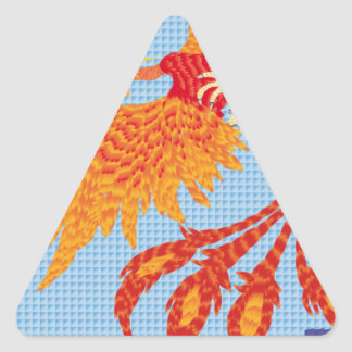 Resurgir del ave fenix pegatina triangular