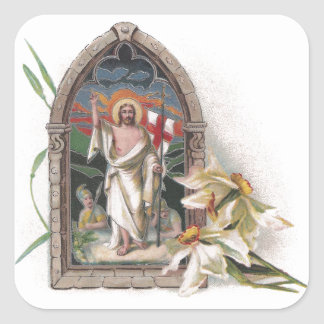 Resurrección de la ventana de la iglesia de Cristo Pegatina Cuadrada