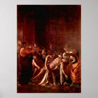 Resurrección de Lazarus por Caravaggio Poster