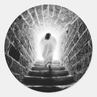 Resurrección de los pegatinas del Jesucristo Pegatina Redonda