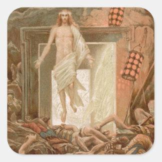 Resurrección del Jesucristo Pegatina Cuadrada