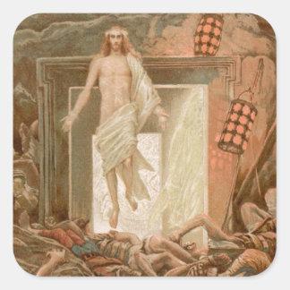 Resurrección del Jesucristo, por James Tissot Pegatina Cuadrada
