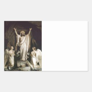 Resurrección en la tumba pegatina rectangular