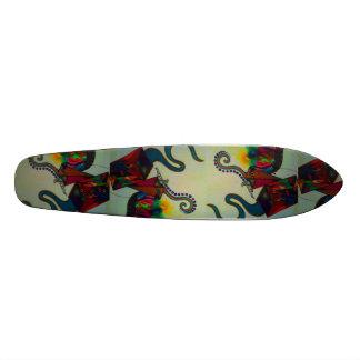 resurrection. abstract mixed medium drawing skateboard deck
