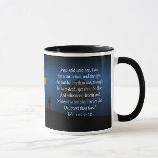 Resurrection and Life Bible Verse Coffee Mug