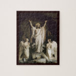 "Resurrection at the Tomb Jigsaw Puzzle<br><div class=""desc"">Jesus with arms outstretched as he walks out of the tomb.  Angels with hands clasped in worship.  Artwork by Carl Bloch</div>"
