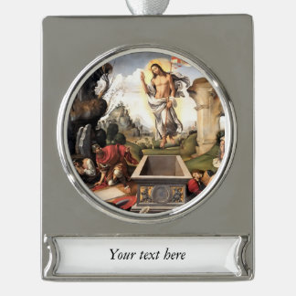 Resurrection of Christ Silver Plated Banner Ornament