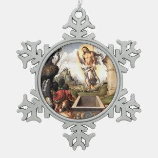 Resurrection of Christ Snowflake Pewter Christmas Ornament