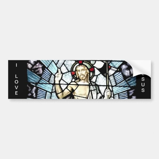 Resurrection of Jesus Stained Glass Window Car Bumper Sticker