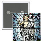 Resurrection of Jesus Stained Glass Window 2 Inch Square Button