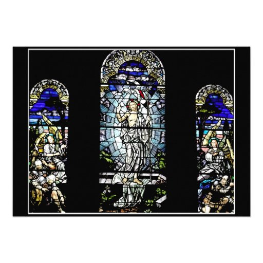 Resurrection of Jesus Stained Glass Window Personalized Invite