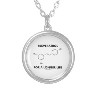 Resveratrol For A Longer Life (Chemical Molecule) Silver Plated Necklace