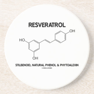 Resveratrol Stilbenoid Natural Phenol Phytoalexin Beverage Coasters