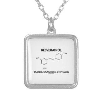 Resveratrol Stilbenoid Natural Phenol Phytoalexin Square Pendant Necklace
