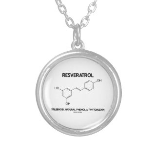 Resveratrol Stilbenoid Natural Phenol Phytoalexin Round Pendant Necklace