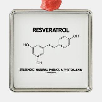 Resveratrol Stilbenoid Natural Phenol Phytoalexin Square Metal Christmas Ornament
