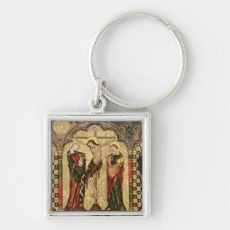 Retable que representa la crucifixión con ocho llavero cuadrado plateado