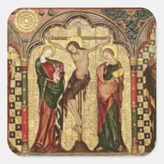 Retable que representa la crucifixión con ocho pegatina cuadrada