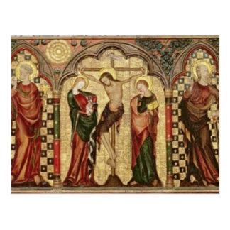 Retable que representa la crucifixión con ocho postal