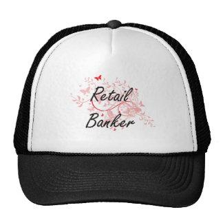 Retail Banker Artistic Job Design with Butterflies Trucker Hat