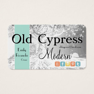 Retail Business with Old Tree Social Media Icons Business Card