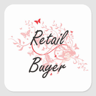 Retail Buyer Artistic Job Design with Butterflies Square Sticker