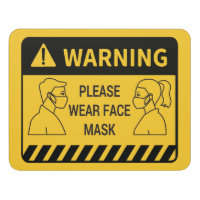 Retail Covid 19 Please Wear Face Mask Door Sign