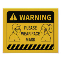 Retail Covid 19 Please Wear Face Mask Poster
