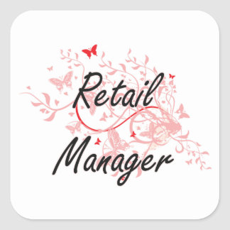 Retail Manager Artistic Job Design with Butterflie Square Sticker
