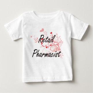 Retail Pharmacist Artistic Job Design with Hearts Tshirt