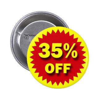 RETAIL SALE BADGE - 35% OFF 2 INCH ROUND BUTTON