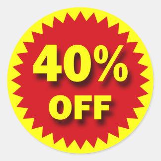 RETAIL SALE BADGE - 40% OFF CLASSIC ROUND STICKER