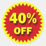 RETAIL SALE BADGE - 40% OFF ROUND STICKERS