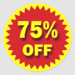 RETAIL SALE BADGE - 75% OFF CLASSIC ROUND STICKER