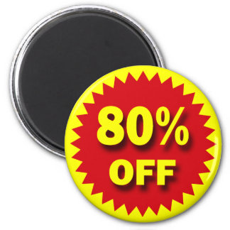 RETAIL SALE BADGE - 80% OFF 2 INCH ROUND MAGNET