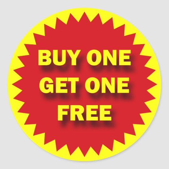 retail sale badge buy one get one free classic round sticker