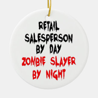 Retail Salesperson Zombie Slayer Double-Sided Ceramic Round Christmas Ornament