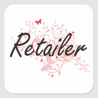 Retailer Artistic Job Design with Butterflies Square Sticker