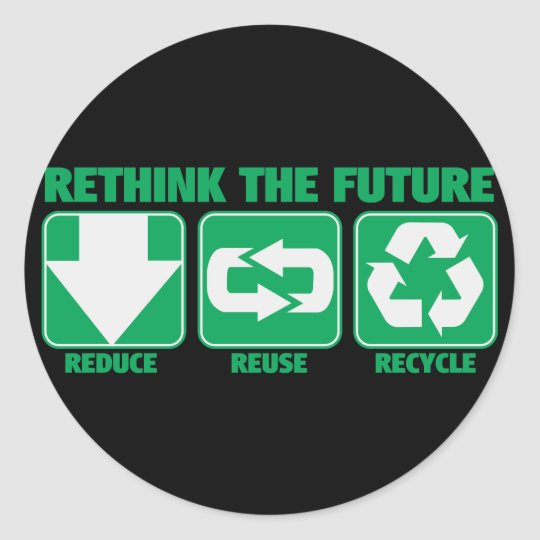 Rethink The Future, Recycle Classic Round Sticker