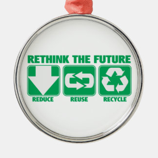 Rethink The Future, Recycle Metal Ornament