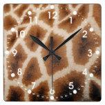 Reticulated Giraffe Pattern Wild Animal Print Gift Square Wall Clocks